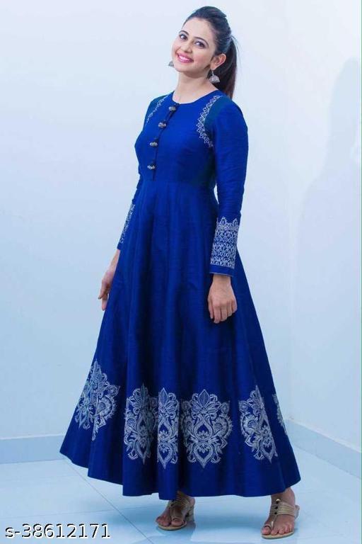 Stylish women beautiful blue anarkali kurta