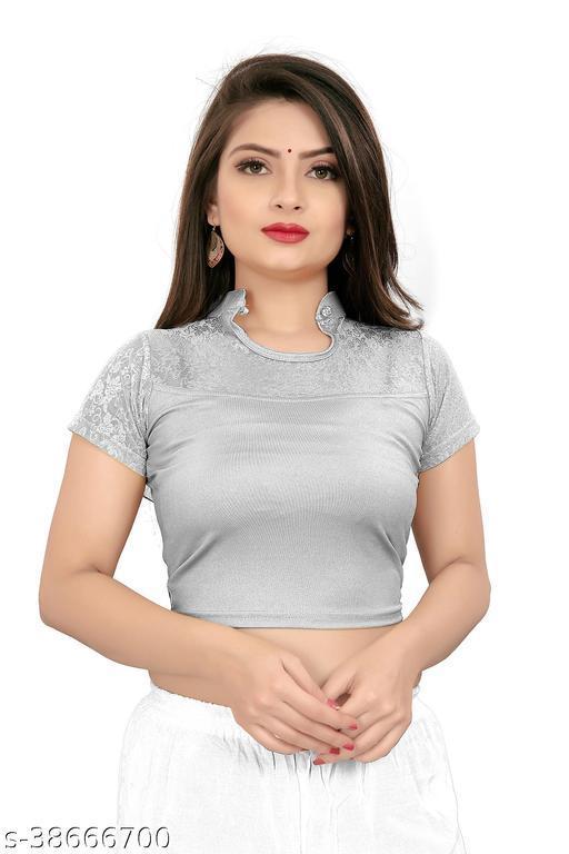YOELLA Girl's & Women's Cotton Lycra Blend Readymade U Neck Short Sleeve Blouse