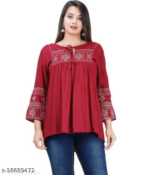 Women Embrodery Red Top