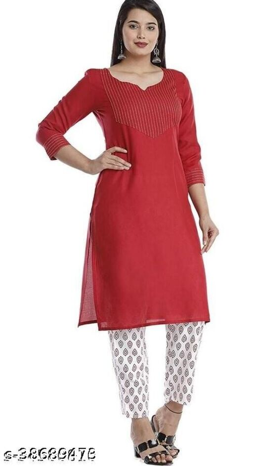 Women Redm line embrodery kurta