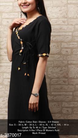 Women's Black Solid Cotton Slub Kurti