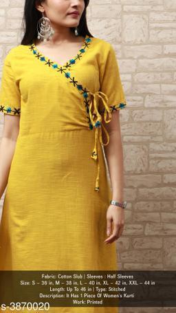 Women Cotton Slub Angrakha Solid Yellow Kurti