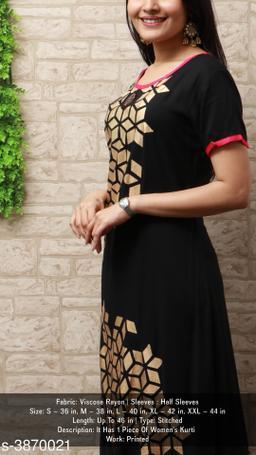 Women's Black Printed Viscose Rayon Kurti
