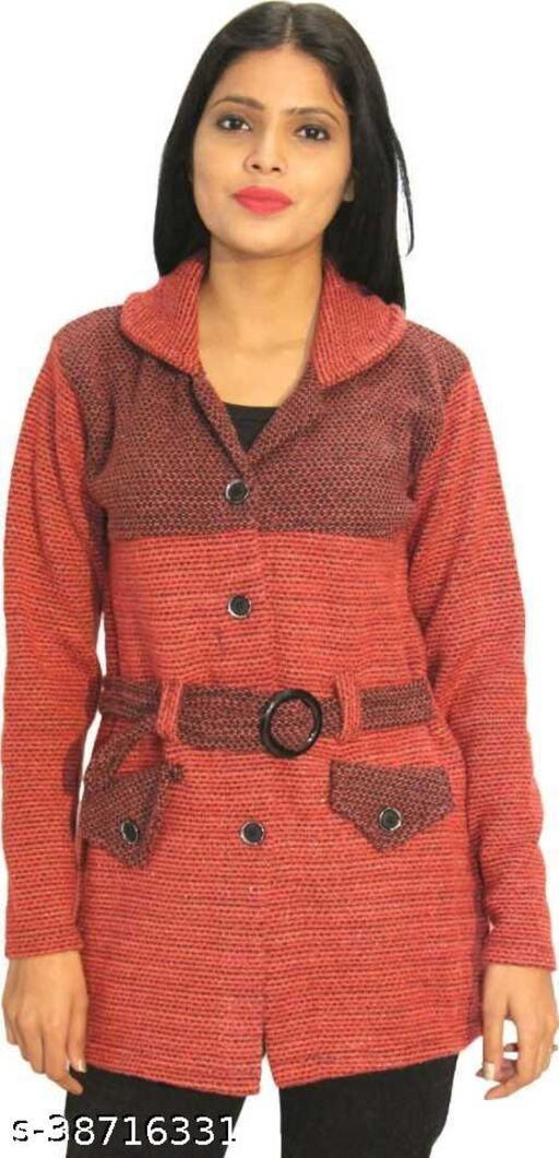 Womens Woollen Cardigan/ Coat with belt and pockets