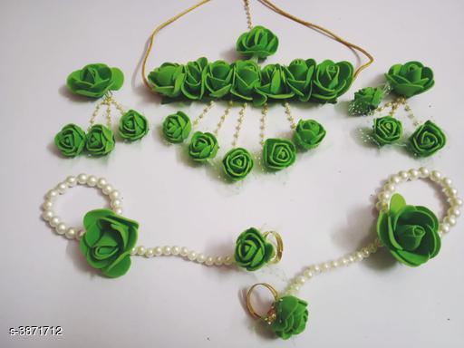 Jewellery Set Fancy Pearl Women's Jewellery Set  *Base Metal* Pearl  *Stone Type* Pearls  *Sizing* Adjustable  *Type* Necklace Earrings Maangtika Finger Ring Bracelet  *Multipack* 1  *Sizes Available* Free Size *    Catalog Name: Arya Fancy Pearl Women's Jewellery Sets Vol 14 CatalogID_544198 C77-SC1093 Code: 552-3871712-