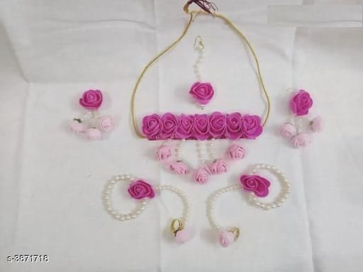 Jewellery Set Fancy Pearl Women's Jewellery Set  *Base Metal* Pearl  *Stone Type* Pearls  *Sizing* Adjustable  *Type* Necklace Earrings Maangtika Finger Ring Bracelet  *Multipack* 1  *Sizes Available* Free Size *    Catalog Name: Arya Fancy Pearl Women's Jewellery Sets Vol 14 CatalogID_544198 C77-SC1093 Code: 134-3871718-
