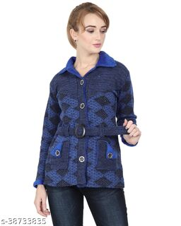 Women's Wool  Printed Cardigan with Pockets and Belt