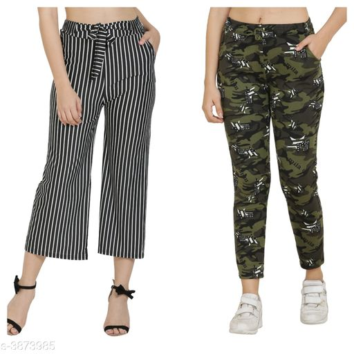 Trousers & Pants Trendy Women's Pants and Palazzos Combo  *Fabric* Cotton Lycra Blend  *Size (Waist)* Up To 26 in To 32 in(Free Size)  *Length* Up To 36 in  *Type* Stitched  *Description* It Has 1 Piece Of Women's Pant and 1 Piece Of Palazzo  *Work/Pattern* Palazzo-Striped, Pant-Printed  *Sizes Available* Free Size, 26, 28, 30, 32, 34 *    Catalog Name: Trendy Women's Pants and Palazzos Combo Vol 1 CatalogID_544590 C79-SC1034 Code: 524-3873985-