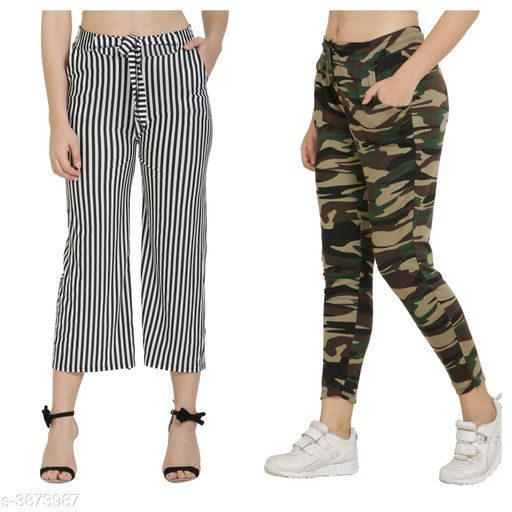 Trousers & Pants Trendy Women's Pants and Palazzos Combo  *Fabric* Cotton Lycra Blend  *Size (Waist)* Up To 26 in To 32 in(Free Size)  *Length* Up To 36 in  *Type* Stitched  *Description* It Has 1 Piece Of Women's Pant and 1 Piece Of Palazzo  *Work/Pattern* Palazzo-Striped, Pant-Printed  *Sizes Available* Free Size, 26, 28, 30, 32, 34 *    Catalog Name: Trendy Women's Pants and Palazzos Combo Vol 1 CatalogID_544590 C79-SC1034 Code: 524-3873987-