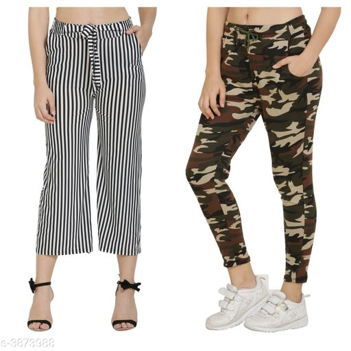 Trousers & Pants Trendy Women's Pants and Palazzos Combo  *Fabric* Cotton Lycra Blend  *Size (Waist)* Up To 26 in To 32 in(Free Size)  *Length* Up To 36 in  *Type* Stitched  *Description* It Has 1 Piece Of Women's Pant and 1 Piece Of Palazzo  *Work/Pattern* Palazzo-Striped, Pant-Printed  *Sizes Available* Free Size, 26, 28, 30, 32, 34 *    Catalog Name: Trendy Women's Pants and Palazzos Combo Vol 1 CatalogID_544590 C79-SC1034 Code: 524-3873988-