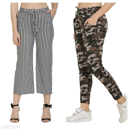 Trousers & Pants Trendy Women's Pants and Palazzos Combo  *Fabric* Cotton Lycra Blend  *Size (Waist)* Up To 26 in To 32 in(Free Size)  *Length* Up To 36 in  *Type* Stitched  *Description* It Has 1 Piece Of Women's Pant and 1 Piece Of Palazzo  *Work/Pattern* Palazzo-Striped, Pant-Printed  *Sizes Available* Free Size, 26, 28, 30, 32, 34 *    Catalog Name: Trendy Women's Pants and Palazzos Combo Vol 1 CatalogID_544590 C79-SC1034 Code: 524-3873991-