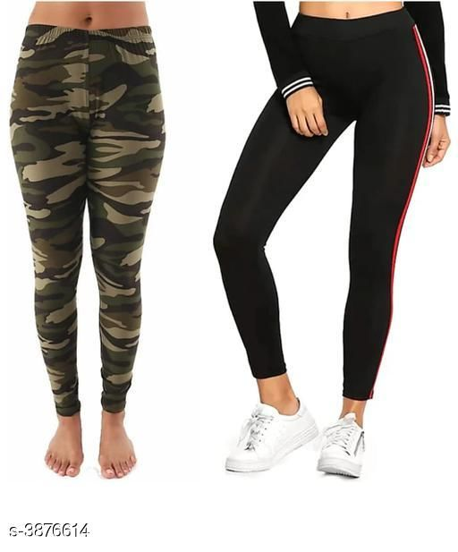 Stylish Cotton Lycra Women's Leggings ( Pack Of 2 )
