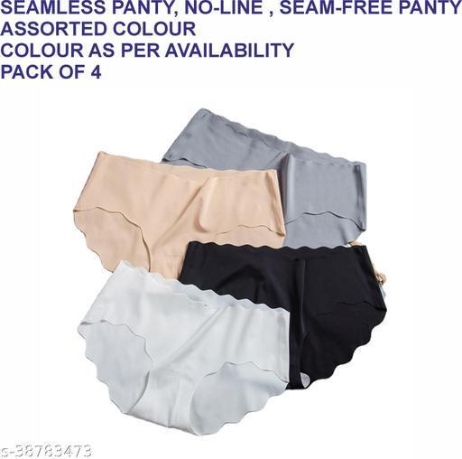 Women Brazilian/Cheeky Grey Cotton Blend Panty (Pack of 4)