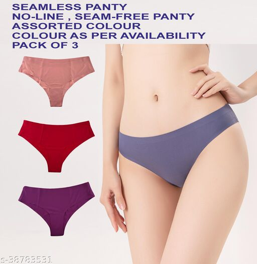 Tomkot Seamless ice Silk Invisible Lines no Show Hipster Panty Combo panty for Women and Girls,