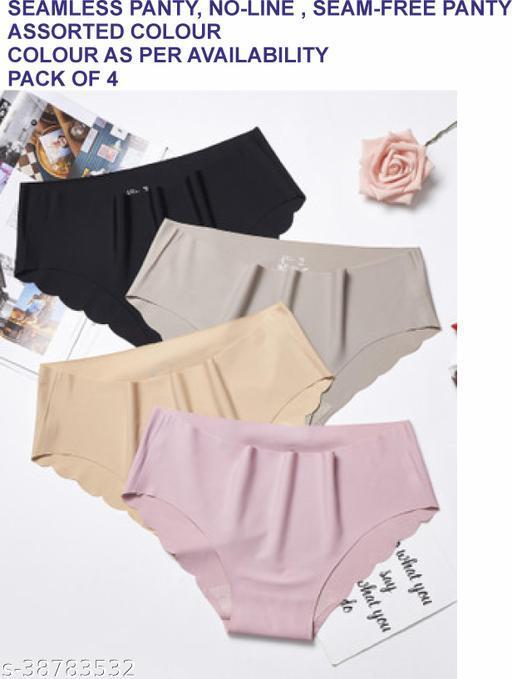 Women Seamless Mustard Cotton Blend Panty (Pack of 4)