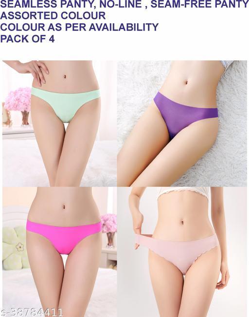 Women Bikini Aqua Blue Cotton Blend Panty (Pack of 4)