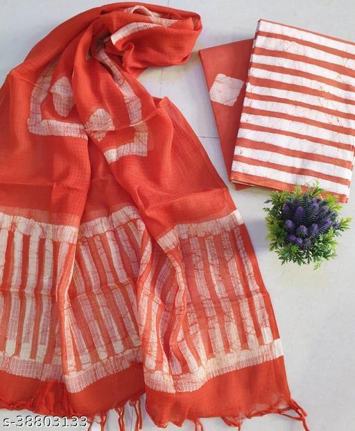 HandBlock Print Women's Cotton Multi Suit With Kota Doria Dupatta Suits & Dress Materials