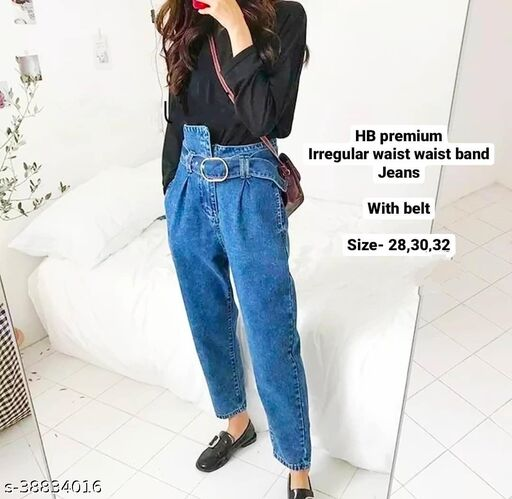 Irregular Waist with belt jeans by High-Buy