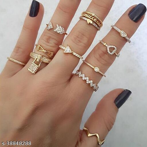 Arzonai European and American cross-border jewelry fashion gold-plated love crystal ring set socialite street shooting 13-piece combination ring
