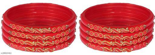 ZULKA Glass Zircon Gemstone and leaf worked Glossy Bangle set for Women/Girls,(Red)