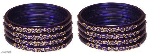 ZULKA Glass Zircon Gemstone and leaf worked Glossy Bangle set for Women/Girls,(Blue)