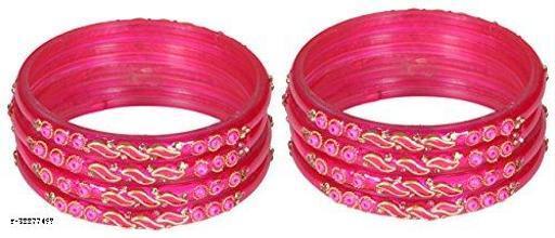 ZULKA Glass and Zircon Gemstone leaf pattern worked Bangle set for Women/Girls, (Magenta)