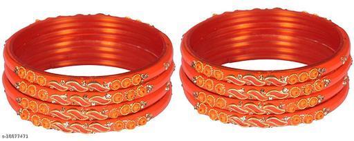 ZULKA Glass and Zircon Gemstone leaf pattern worked Bangle set for Women/Girls, (Orange)