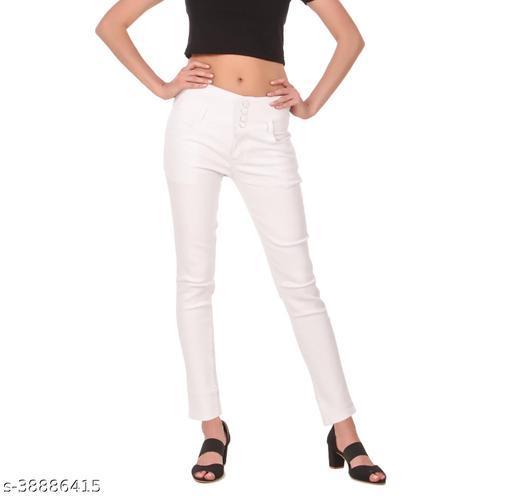 """jac fashion"" Women White 4 Button jeans (Pack of 1, Wht)"