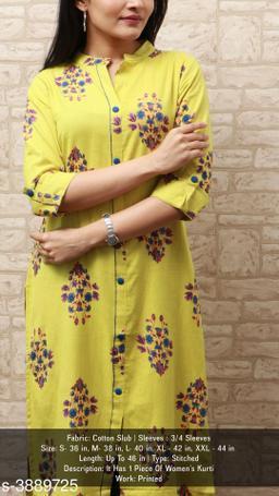 Women Cotton Slub A-line Printed Yellow Kurti