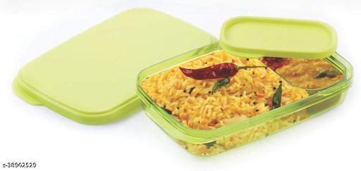 Solomon™ Premium Quality Push Lock Plastic Tiffin Lunch Box Set 2 Compartment (Green)