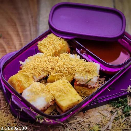 Solomon™ Premium Quality Push Lock Plastic Tiffin Lunch Box Set 2 Compartment (Purple)