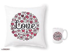 Trendy Beautiful Ceramic Printed Mugs With Cushion Covers Combo