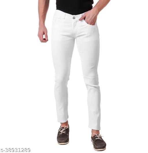 """JAC FASHION"" Men Regular Fit Round Pocket  White Jeans (Pack of 1, WHT)"
