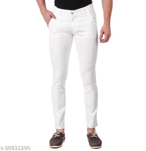 """JAC FASHION"" Men Regular Fit Cross Pocket  White Jeans (Pack of 1, WHT)"