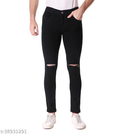 """""""JAC FASHION"""" Men Regular Fit Knee Cut Black Jeans (Pack of 1, BLK)"""