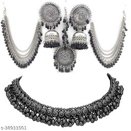 Bahu earrings and silver beads payal necklace for girls and Women