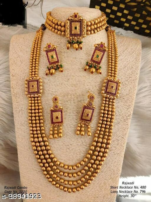 Traditional Gold Plated South style Combo Necklace Set