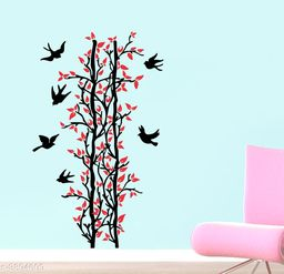 Sticker Hub Red Leaves Tree And Birds Wall Sticker PVC Vinyl Standard Size - 70cm X 117cm Color-Multicolor,