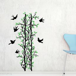 Sticker Hub Green Leaves Tree And Birds Wall Sticker PVC Vinyl Standard Size - 70cm X 117cm Color-Multicolor,