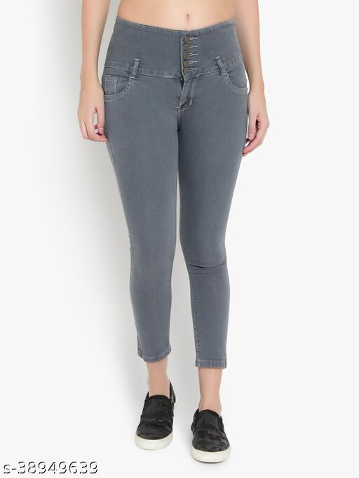 AKACY Women's Grey Slim Fit 5 Button Stretchable Ankle Length Jeans