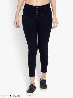 AKACY Women's Dark Blue Slim Fit 5 Button Stretchable Ankle Length Jeans