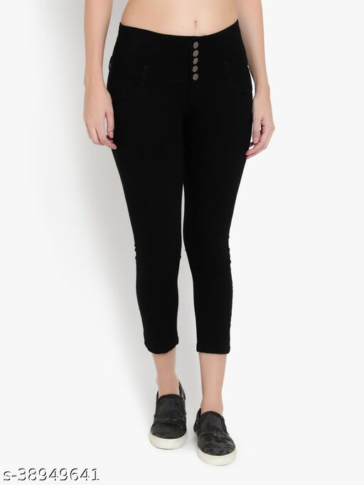 AKACY Women's Black Slim Fit 5 Button Stretchable Ankle Length Jeans