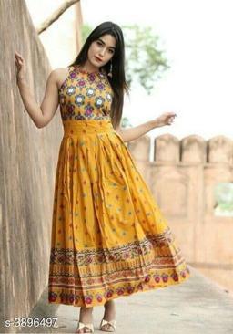 Printed Mustard Maxi Rayon Dress