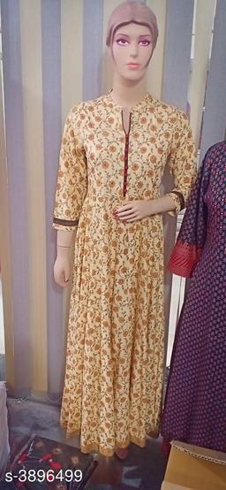 Printed Beige Maxi Cotton Dress