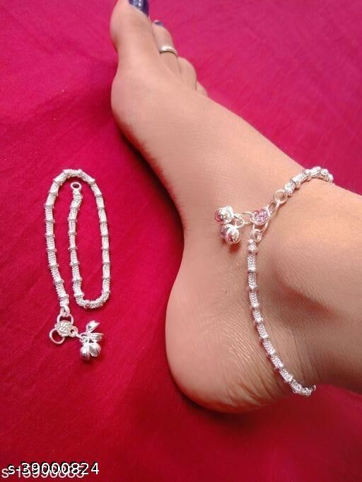 Aanya Centric 1 pair Indian Traditional Ethnic Silver Plated White Metal Alloy Anklets Payal for Women Girls