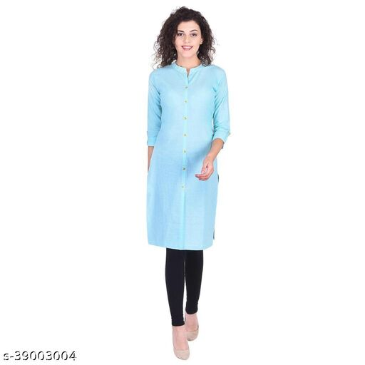 Stylish Retro Women Cotton Kurti (Sky Blue)