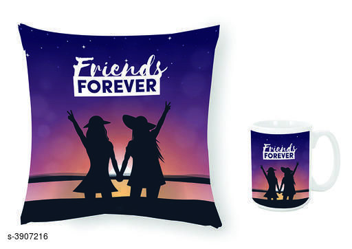 New Trendy Ceramic Printed Mugs With Cushion Covers Combo