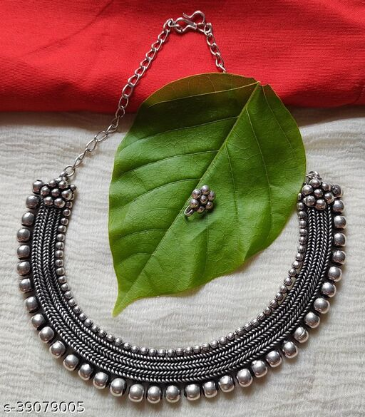 Krisha's Oxidized Necklace With Nosepin  for Women