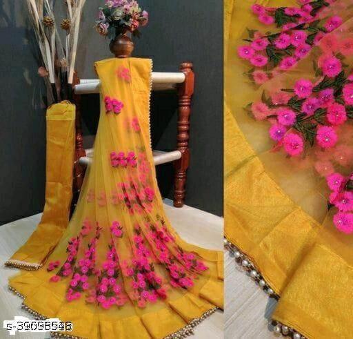 new catlog net saree yellow