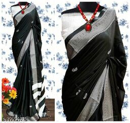 KMH Traditional Paithani Silk Sarees With Contrast Blouse Piece (3D Black & Silver)
